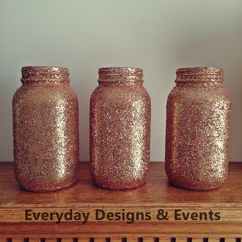 3 Mason Jars, Rose Gold, Baby Shower Idea, Baby Shower Decoration, Wedding,  Wedding Decorations, Wedding Centerpieces, Party Supplies, Decor