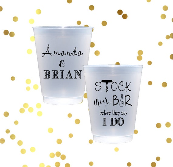 Stock the bar party frosted cups, engagement party, personalized shatterproof cup, monogrammed plastic cup, couples shower party favor