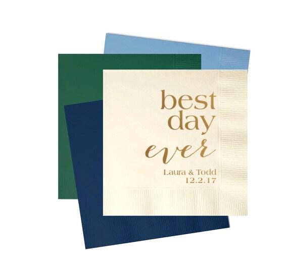 best day ever napkins, wedding cocktail napkins, reception napkins, wedding napkins, Bridal shower napkins, wedding favor