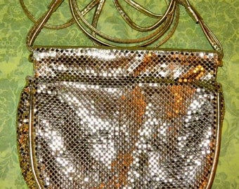 Vintage Whiting & Davis Gold Mesh and Gold Lame Leather Disco Purse