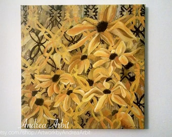 Find a Proverbial Mountain - 12x12 Floral Acrylic Painting on Canvas