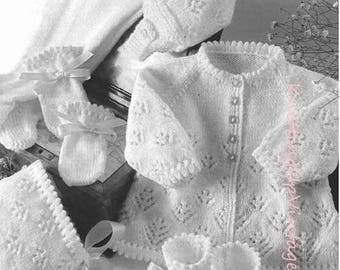 Baby Knitting Pattern pdf 4 ply Pram Set Matinee Coat Leggings Bonnet Hat Mittens Bootees