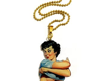 1950s Fashion Models, Vintage Woman Painting, Old Print, Feminist, Cool, Gold, Acrylic, Plastic, Funny humor Sexy Statement Necklace