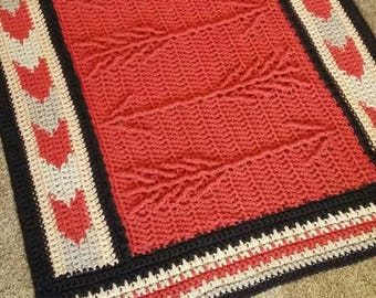 Native American Blanket. Cabled Arrow Afghan or Throw.  Arrow and Arrowhead American Indian Inspired Blanket. Crochet Native American Throw