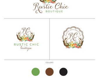 Rustic Branding Package Design  Small Business Logo  Bohemian Branding Design  Watercolor Antlers Logo  Tribal Logo  Flowers and Antlers