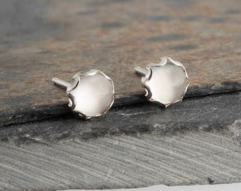 Moonstone Post Earrings Smooth Cabochon Stone Earrings Sterling Silver Shiny Silver Earrings Minimalist Jewelry 5mm