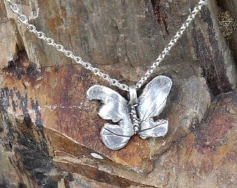 Unique pure silver tattered butterfly