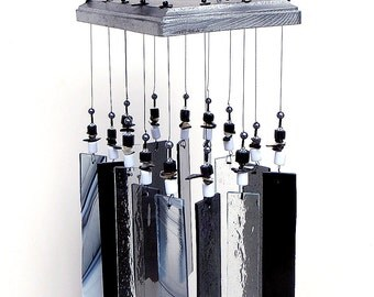Stained Glass Windchime - Art Deco - Black & Silver - Art Deco Suncatcher - Porch decor, BK1004