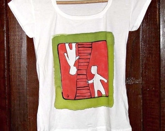 Hand painted T-shirt red green. Paint by hand artistic shirt. Red green tee. Art t shirt hand painted. Comic design t shirt. Teen girl gift.