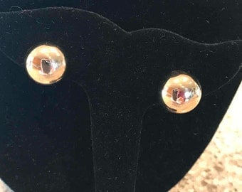 Monet Vintage Gold Tone Button Round Clip-on Earrings
