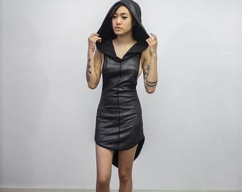 Doomlord Tank Dress, Faux Leather