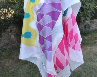 "Handkerchief, Carré of 110 x 110 cm. (44 ""X 44"") 100% natural hand painted, unique silk. Ponge 10, NY1002 - Psyco 2"