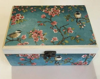 Birds box wood container cherry blossom decor jewelry organizer box spring box tabletop decor love brthday gift for mom teen girl room decor