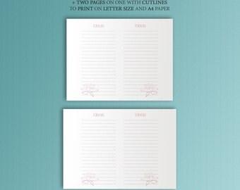 Midori Insert Printable PDF IDEAS 8.25 x4.33 Refill. Rose Planner TN Refill Printable Travellers Notebook Midori Inserts. Instant Download.