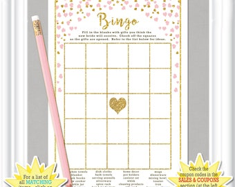 Bridal Shower BINGO with gold glitter (digital) accents & pale blush colored hearts, diy PRINTABLE, fill in the squares bridal bingo 33BR