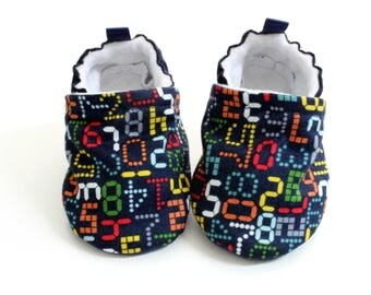 digits baby shoes, Soft Sole Baby Shoes, Fabric Baby Booties boys, navy baby shoes, digits