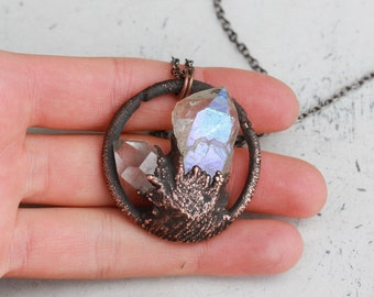 Raw Electroformed Angel Opal Aura Quartz Crystal Point Earthy Organic Dipped Hoop Pendant/Necklace In Copper Circle