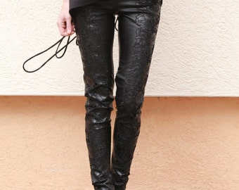 Lace leather Pants/Stretch leggings/Skinny Faux Leather Pants/Black Leggings/Effect Pants/Lace leather skinny pants/Women Pants/F1567