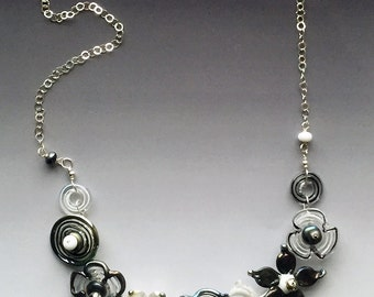 Secret Garden Medium Necklace: handmade glass lampwork beads with sterling silver components - Black & White