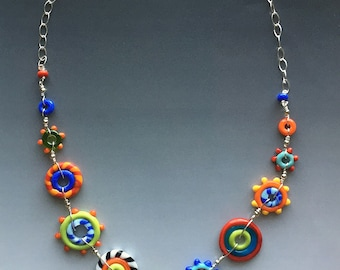 Circus Necklace: handmade glass lampwork beads with sterling silver components
