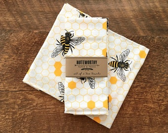 Honey Bee Tea Towels Kitchen Set Of 2