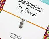 "Silver Pineapple Friendship Bracelet with ""Ohana"" Card | Pineapple Jewelry | Family, Best Friend Gift Bracelet | For Her, Him, Friend"