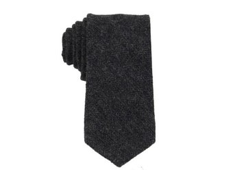 Charcoal Herringbone Wool Tie.Dark Grey Wool Tie.Skinny Wool Tie.Gift Sets.Gift for Him.Mens Gifts