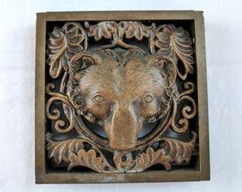 Arts & Crafts period gilt bronze bear head plaque, 4 1/2 x 4 1/2