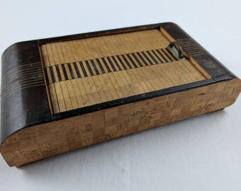Japanese wooden roll top box, parquetry, linear design elements