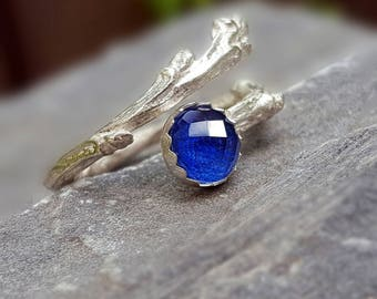 Twig Engagement Ring Twig Ring Silver Twig Ring Branch Ring Twig Lapis Lazuli Ring Tree Branch Rings Nature Ring Alternative Engagement Ring