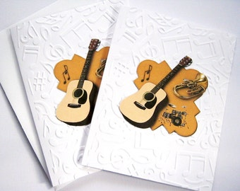Guitar Note Cards, Embossed note card, Thank you note, Thinking of you, gift ideas, Masculine, Teacher gift, guitar, musical notes, Set of 6