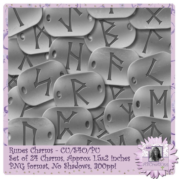 Runes Charms, Halloween, Wicca, Wiccan, Pagan, Ancient Runes, Magic, Divination, Norse, Digital Scrapbooking