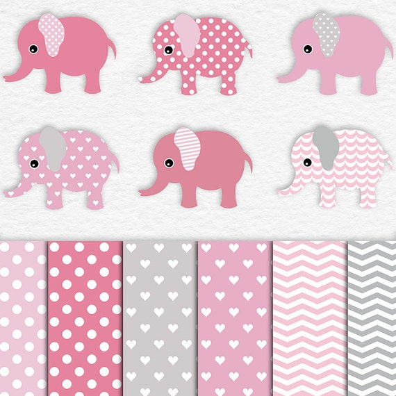 CUTE GIRL, Elephants Clipart, Patterned Elephants And ...