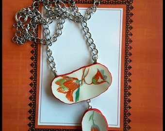 Handmade OOAK  broken china big red tulip statement necklace