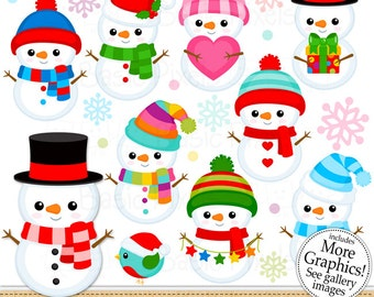 Cute Snowmen- Snowman clip art - Clipart for Personal and commercial use