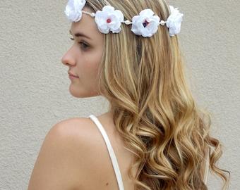 Patriotic flower headband, hemp headband, red white blue, 4th of July floral head crown, hair accessory, halo, hippie boho flower crown