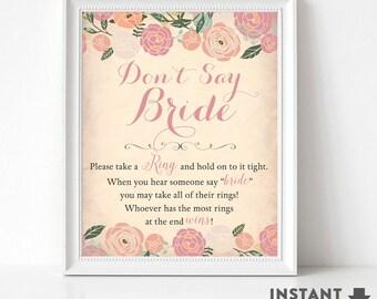 Dont Say Bride Game Sign // Bridal Shower Printables Floral Bridal Shower Games Printable (Instant Download) No.30BRIDE
