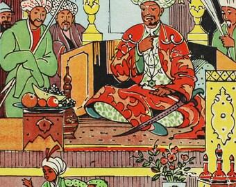 "Illustrator Alfeevsky. Vintage Soviet Postcard ""Adventures of little Nohudik"" Persian Fairytale - 1965. Sovetskiy hudozhnik. Shah, Men, Boy"