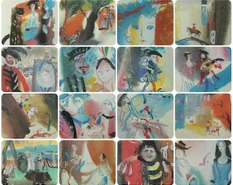Charles Perrault - Fairy tales - Artists A. & V. Traugot - Set of 16 Vintage Soviet Postcards, 1990. Cinderella, Hop-o'-My-Thumb, Bluebeard