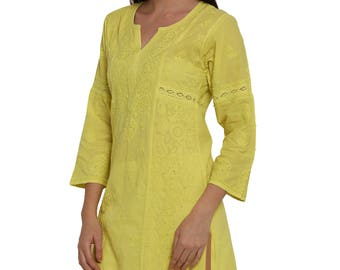Indiankala4u Hand Embroidery allover Chikankari beach cover up / Kurtis/Top/Tunic/ kurta / blouse   for summer  women/ladies/girls