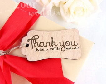 Custom Thank You Tags, Engraved Thank You Tags, Wooden Thank You Tags, Rustic Wood Thank You Tags, Wedding Favors, Wedding Wood Tags