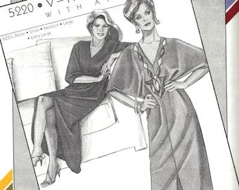 Stretch & Sew 5220 Sewing Pattern Misses V-Neck Caftan with Applique Design sz P Thru XL Uncut