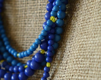 something blue beaded necklace, multi strand necklace, long necklace, summer birthday gift for her, boho necklace, beach lovers gift, hippie