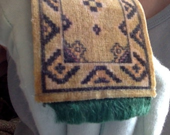Medieval and Renaissance miniature velveteen oriental rug for a 1:12 or larger BJD doll and dollhouse