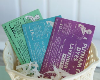 Vintage PUTNAM FABRIC DYE Packets - Set of 3 - Light Blue, Nile Green & Lavender