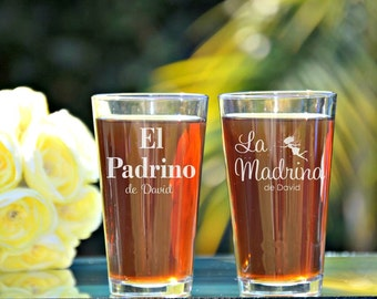 Padrino, Madrina, El Padrino, Godfather Godmother Gift, Baptism Gift for Godparents, Christening Gift, Fairy Godmother, Godfather Beer Glass
