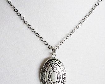 Intricate Oval Locket Necklace