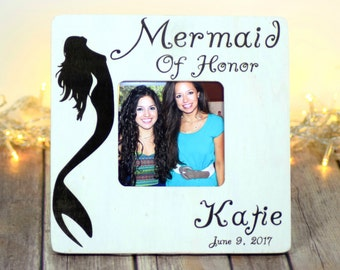 Bridesmaid Gift, Wedding, Personalized Bridesmaid Gifts Bridal Party Gifts, Picture Frames, Gifts for Her, Mermaid of Honor