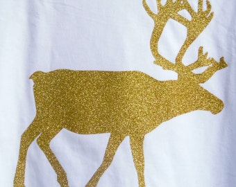 GLITTER REINDEER, Whole Body side,Short-Sleeve, Multiple Glitter Colors, Children's sizes YXS4-Adult 6X. ch