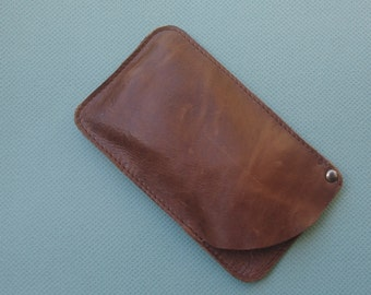 FREE SHIPPING Vintage brown leather sunglasses case, gift idea, leather sunglass case, vintage waxed Leather sunglasses pouch